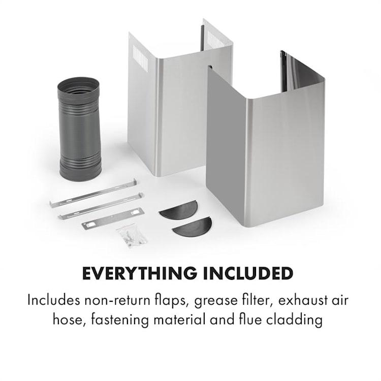 Gloria, kuhinjska napa, sesanje pare, 90 cm, 580 m³/h, RGBI, srebrna/črna 90 cm