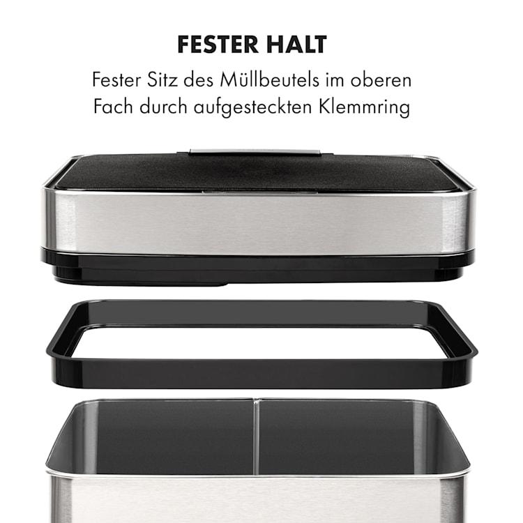 Touchless Müllsammler Sensor 72L 4 Behälter ABS / PP / Edelstahl gebürstet Silber