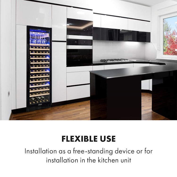 Vinovilla Onyx Grande stort-vinkylskåp 433l 165 flaskor svart 433 l | 1 kylzon