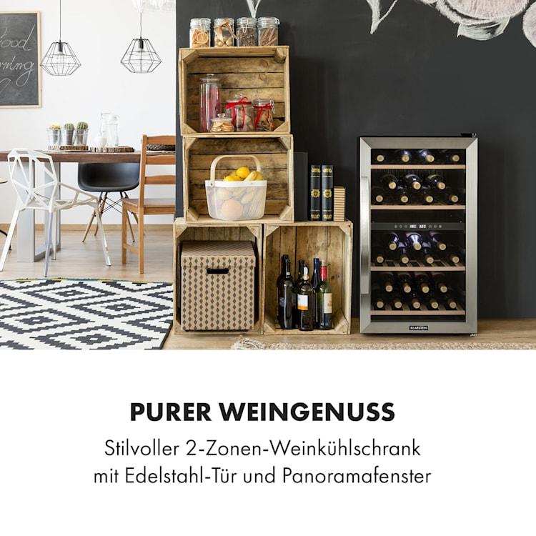 Vinamour 45D Weinkühlschrank 2 Zonen 118 Ltr / 45 Fl 5-18 °C Edelstahl 45 Flaschen | 2 Kühlzonen