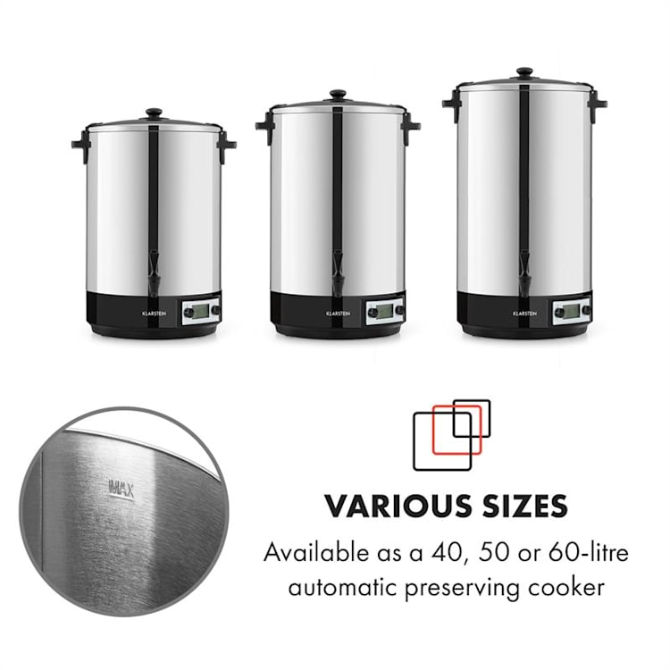 Konfistar 50, digital, fierbător și aparat de conservare, recipient pentru băuturi, 50L, 100 ° C, 180 min, 2500 W 50 Ltr