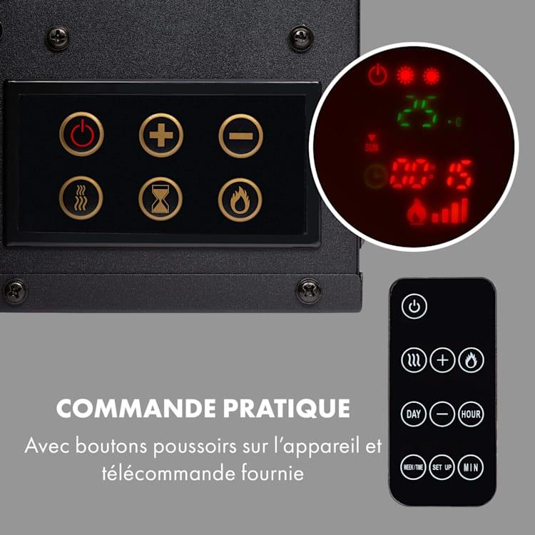 Lausanne Long Cheminée électrique 1600W 128cm Télécommande Blanc Blanc