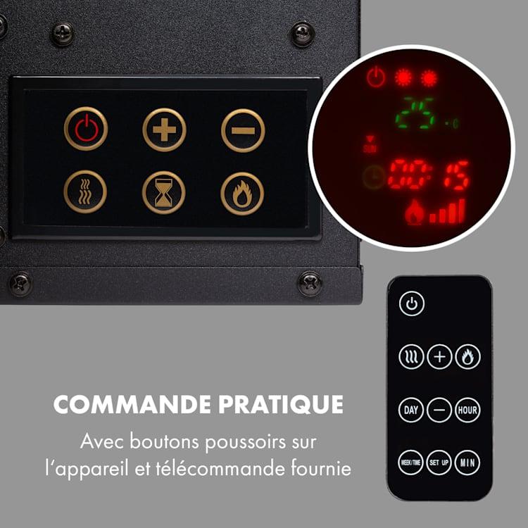 Lausanne Long Cheminée électrique 1600W 128cm Télécommande Noir Noir