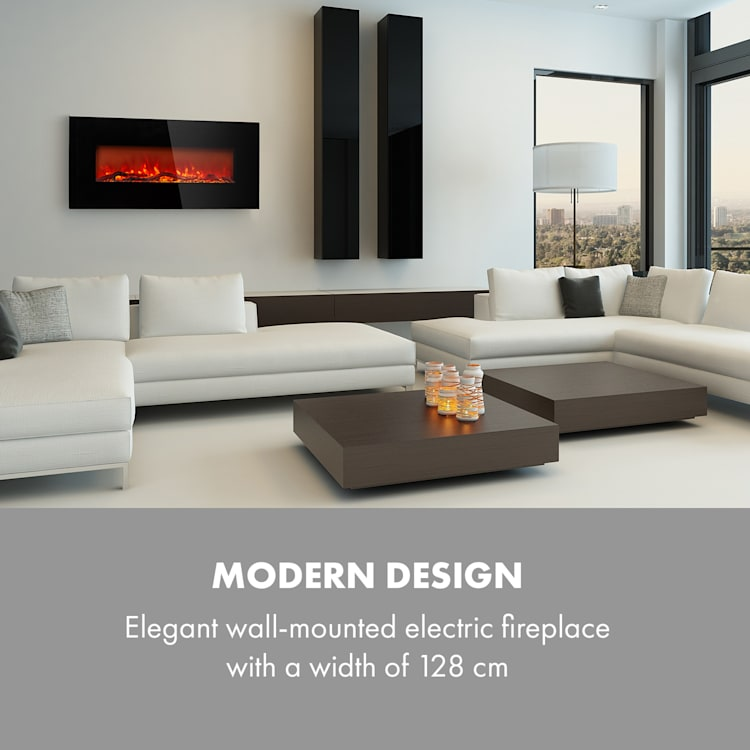 Lausanne Long Electric Fireplace 1600W 2 Heat Settings 128 cm Black Black