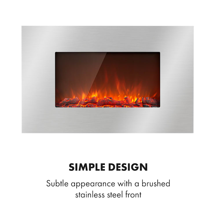 Lausanne Luxe Electric Fireplace 2000W 2 Heat Settings 90 cm Stainless Steel