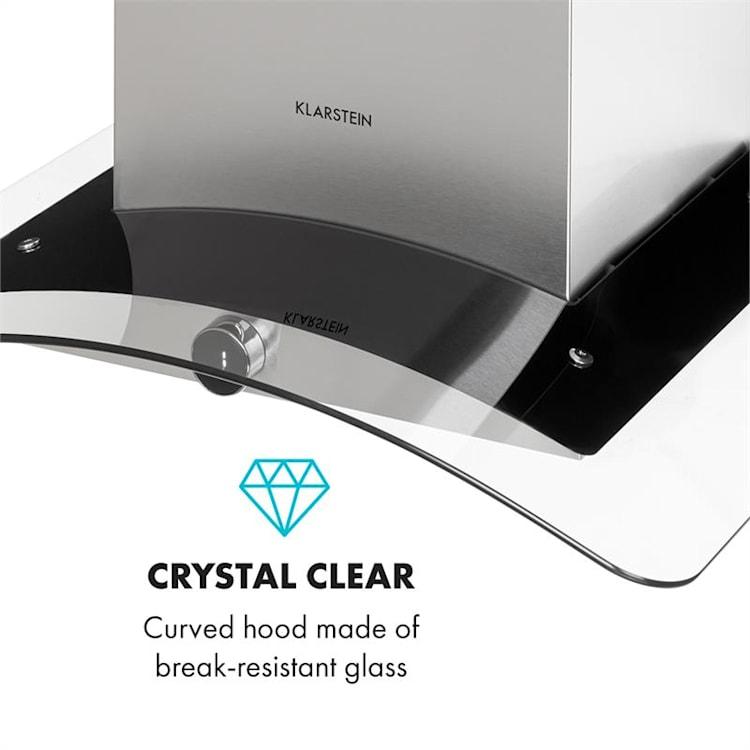 Luna Dunstabzugshaube Wandhaube Abluftbetrieb 60cm 420m³/h Glasschirm Edelstahl silber/schwarz