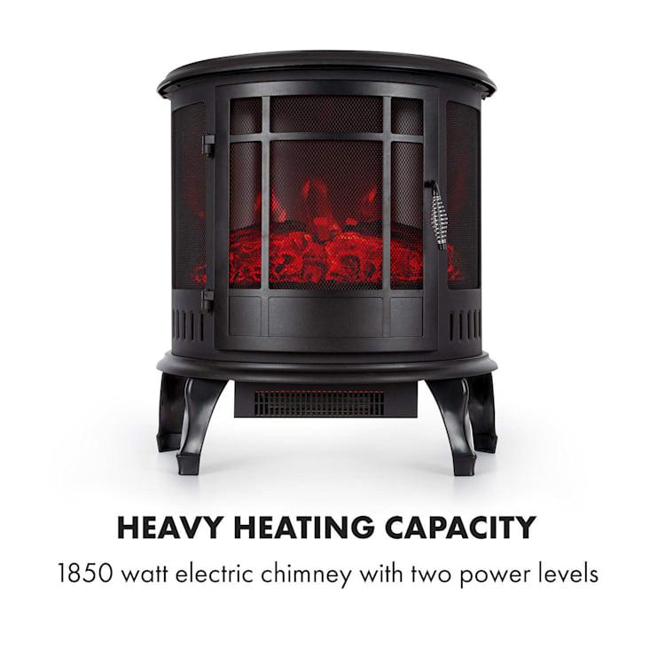 Megéve, električni kamin, 1850 W, LED-plamen, termostat, zatemnitev, črna barva