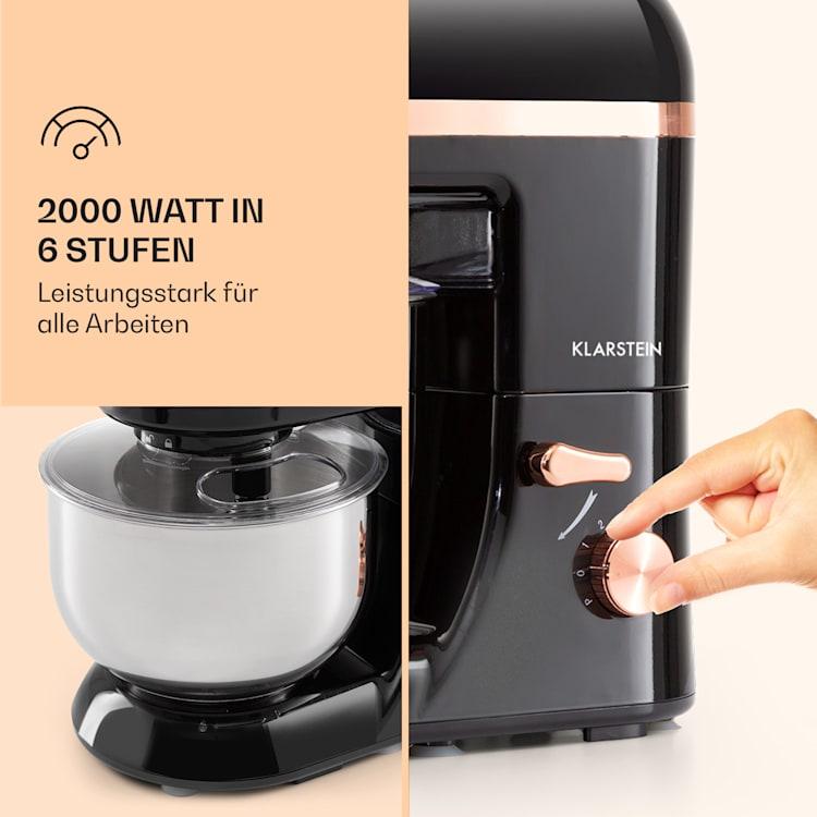 Bella Elegance Küchenmaschine 2000 W / 2,7 PS / 5,2 Liter Edelstahl BPA-frei Schwarz