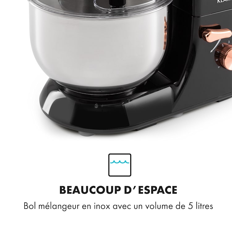 Bella Elegance Robot culinaire 2000 W / 2,7 ch 5,2 l Acier inoxydable sans BPA Noir