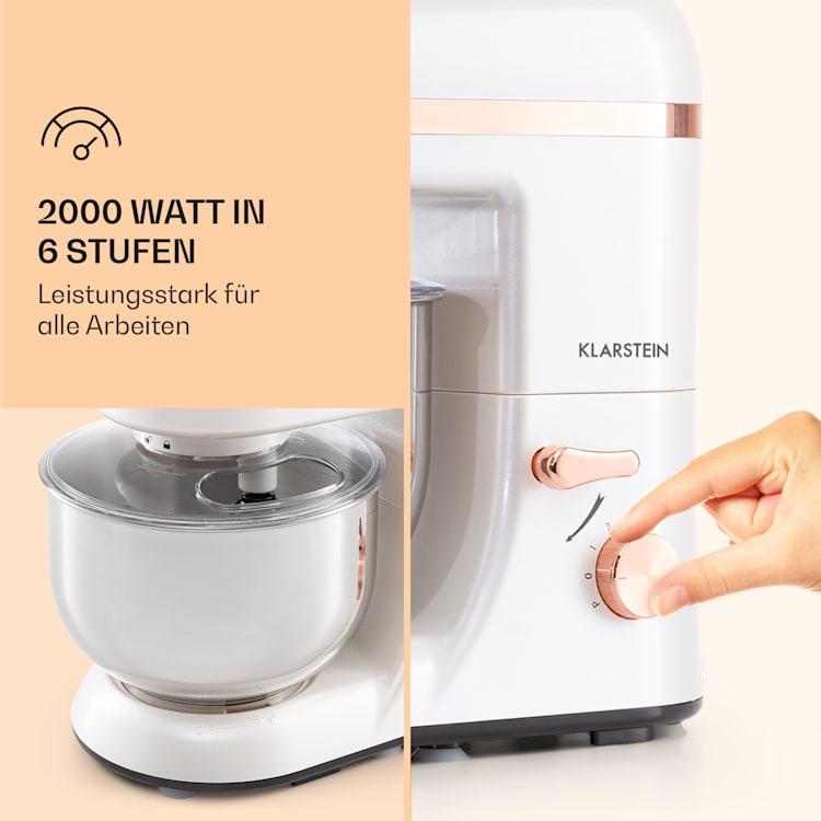 Bella Elegance Küchenmaschine 2000 W / 2,7 PS / 5,2 Liter Edelstahl BPA-frei Weiß
