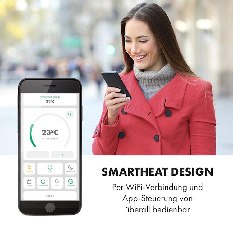 Bornholm Smart Konvektions-Heizgerät 2000W WiFi LED-Display Timer IP24 Standgerät Wandinstallation Schwarz
