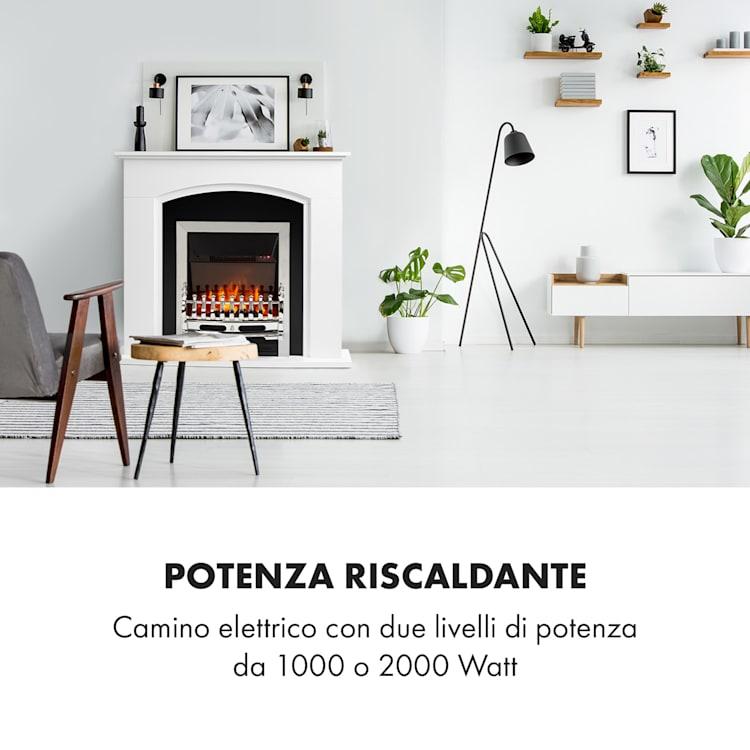 Verbier Camino Elettrico1000/2000W Fuoco LED Telecomando MDF bianco