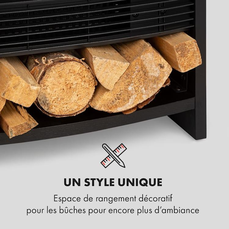 Bergamo Cheminée électrique thermostat 900W / 1800W design bois noir