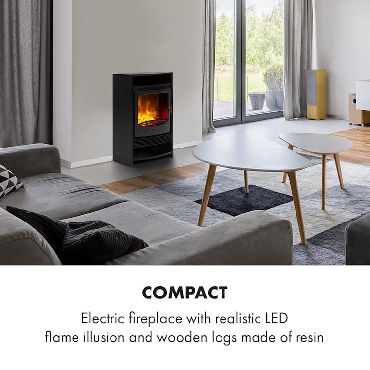 Bergamo Electric Fireplace 900 / 1800W Thermostat Wood Look Black