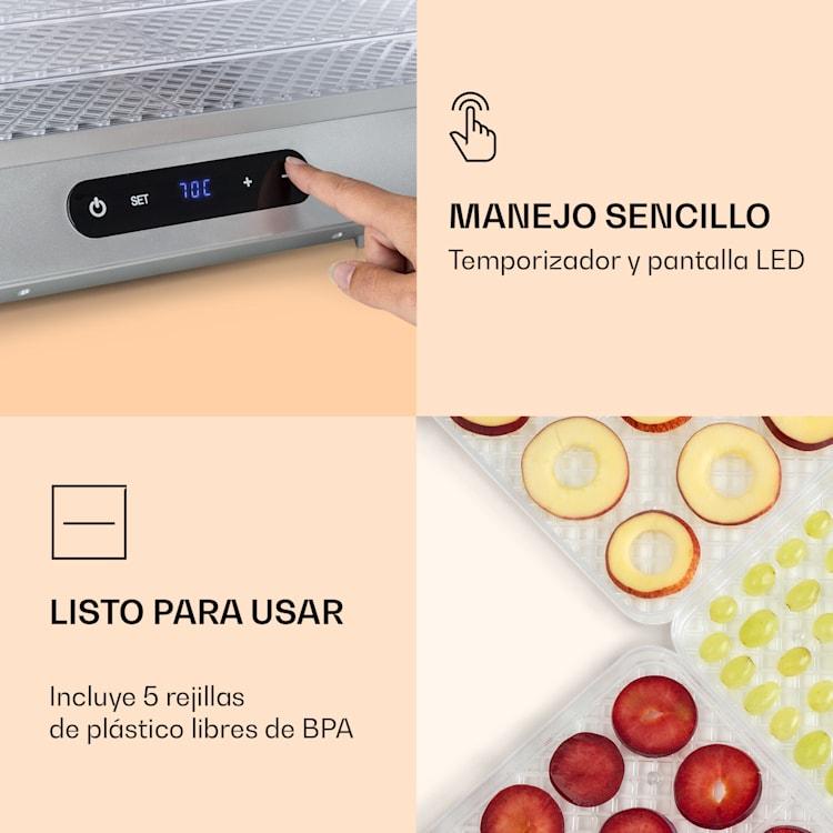 Silver deshidratador 500 W pantalla LED sin BPA 35-70 °C plateado