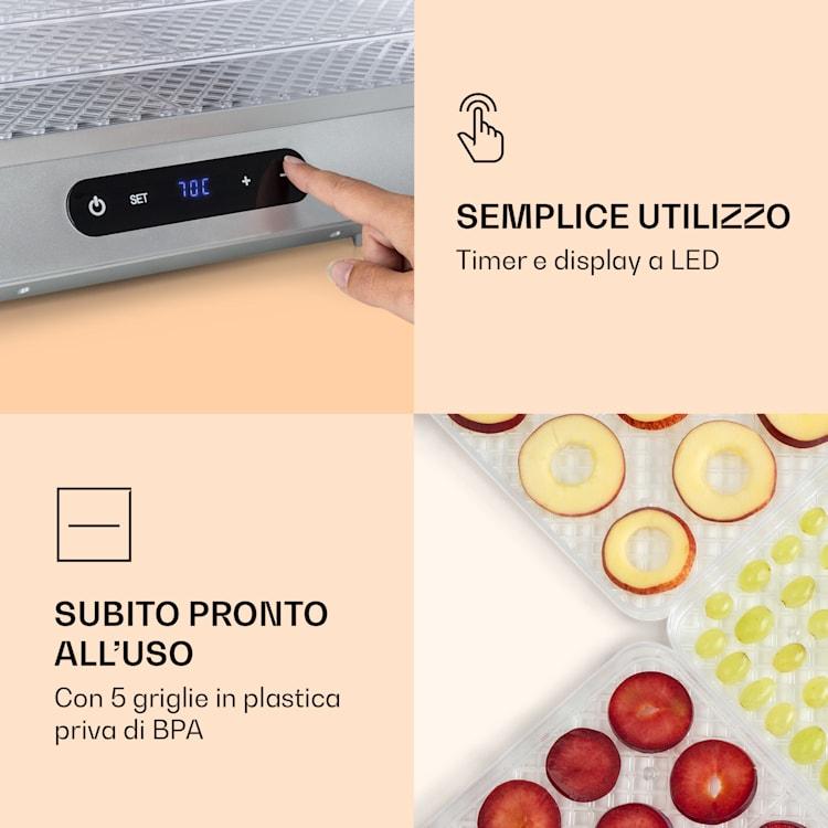 Silver essiccatore 500W display a LED senza BPA 35-70 °C argento