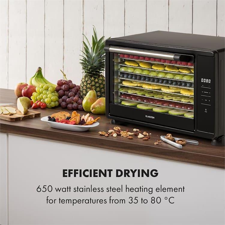 Mega Jerky essiccatore 650W 35-80°C display LCD touch 8 ripiani nero Nero