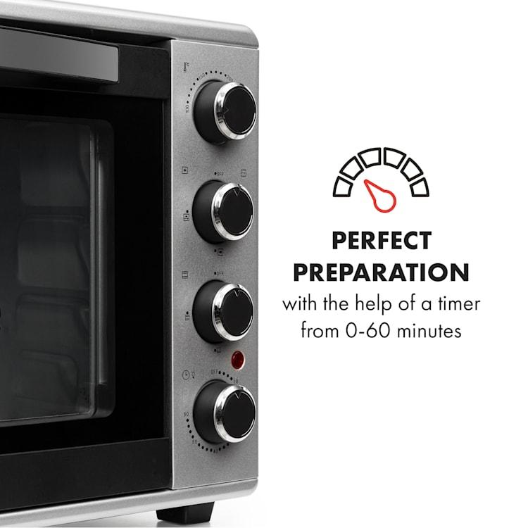 Masterchef 60 Mini Oven 60l 2000W 100-230 ° C Timer Silver Silver   60 Ltr