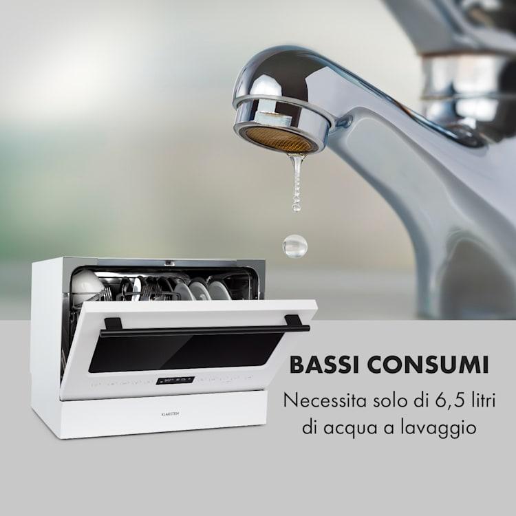 Azuria lavastoviglie EEK A+ 1380W 6,5L 6 coperti frontale di vetro bianco