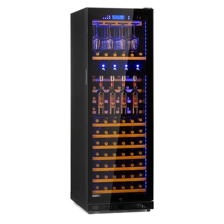 First Class 129 Weinkühlschrank 4 Dispenser 129 Flaschen 5-22°C Touch Panoramaglastür schwarz 129 Flaschen