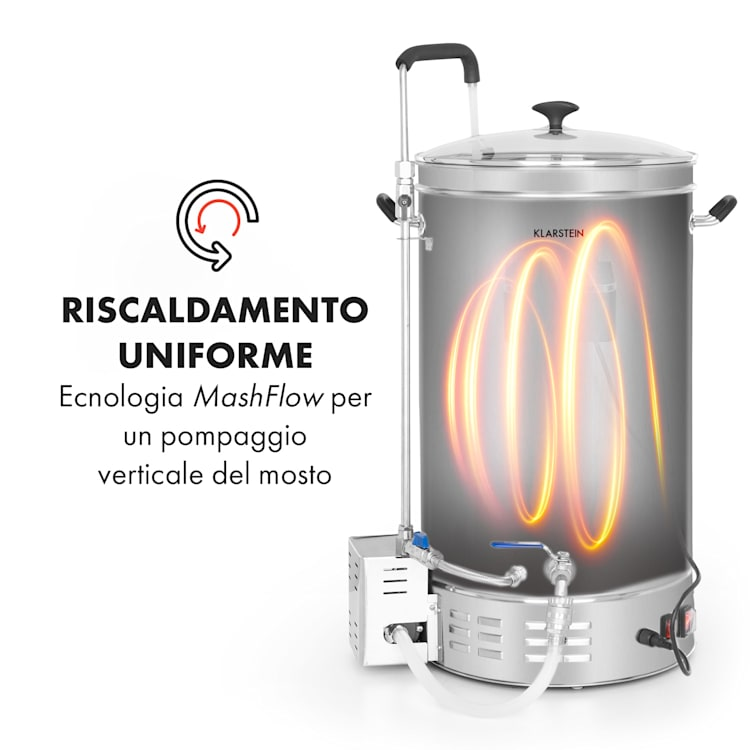 Brauheld Pro paiolo di ammostamento 3300W 45L 30-100°C pompa di ricircolo acciaio inox 45 Ltr