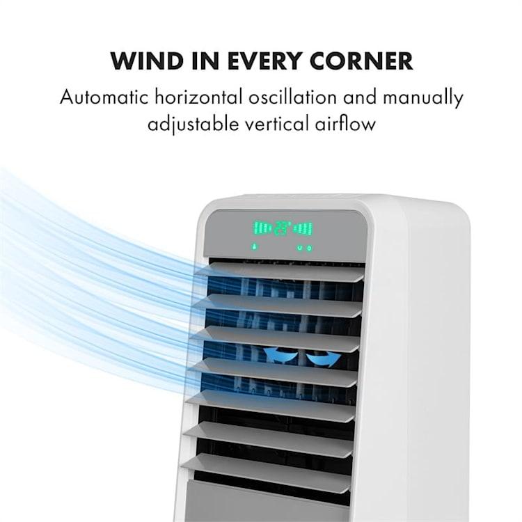 Townhouse, ventilátor, chladič vzduchu, 7 l, 110 W, diaľkový ovládač, 2 x chladiaca sada, biely Biela