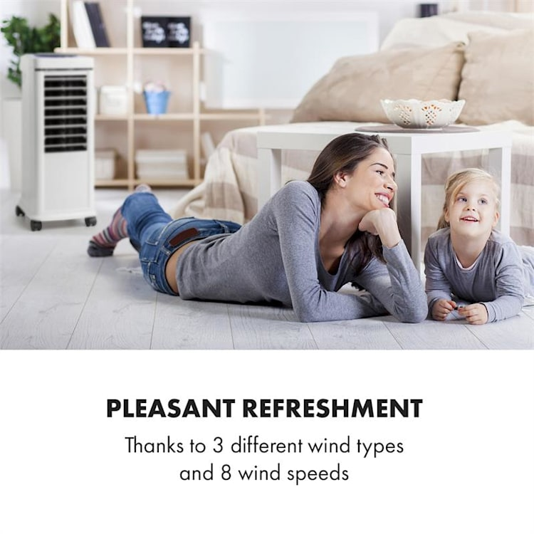 Windspiel, chladič vzduchu, 100 W, 12-hod. časovač, diaľkový ovládač, biely