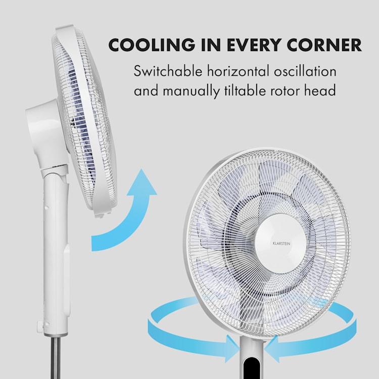 "Sommerwind, Pedestal Fan, 16"", 35W, DC Motor, 5544m³ / h, Oscillation, White White"