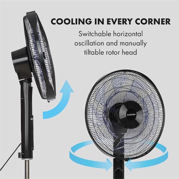 Sommerwind ventilateur sur pied 35W moteur CD 5544 m³/h Oscillation blanc Noir