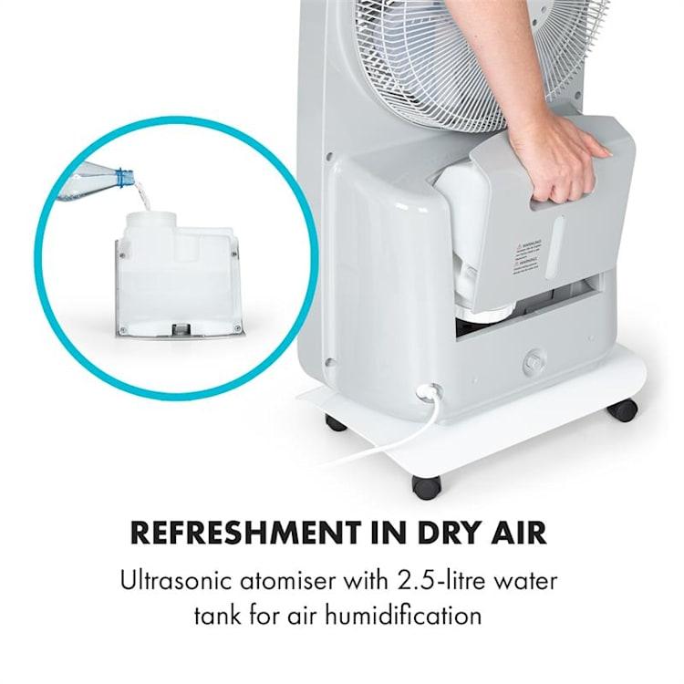 Wildwater, stojanový ventilátor se zvlhčovačem vzduchu, 80W, 3690m³/h, 2,5l, bílý