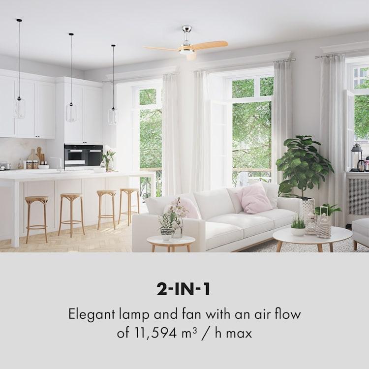 Silent Service, stropni ventilator, Ø: 128 cm, moč: 25 W, lesen izgled Finish: dark wood