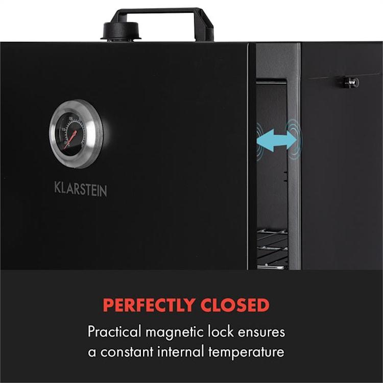 Flintstone -savustusuuni 1600 W lämpömittari ruostumaton teräs musta Musta