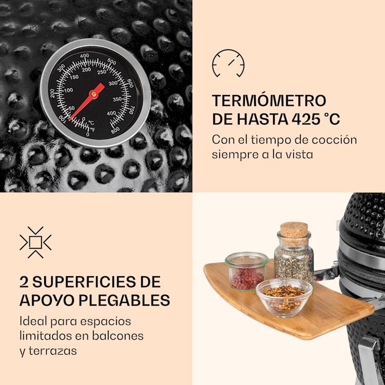 """Princesize Pro parrilla Kamado13"""" (33cm) piezas laterales del termómetro negro Negro"""