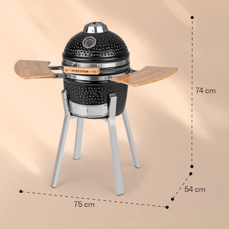 "Princesize Pro, grill kamado, 13 ""(33 cm), termometru, rafturi laterale, negru Negru"