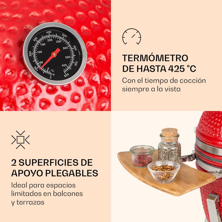 """Princesize Pro parrilla Kamado 13"""" (33cm) piezas laterales del termómetro rojo Rojo"""