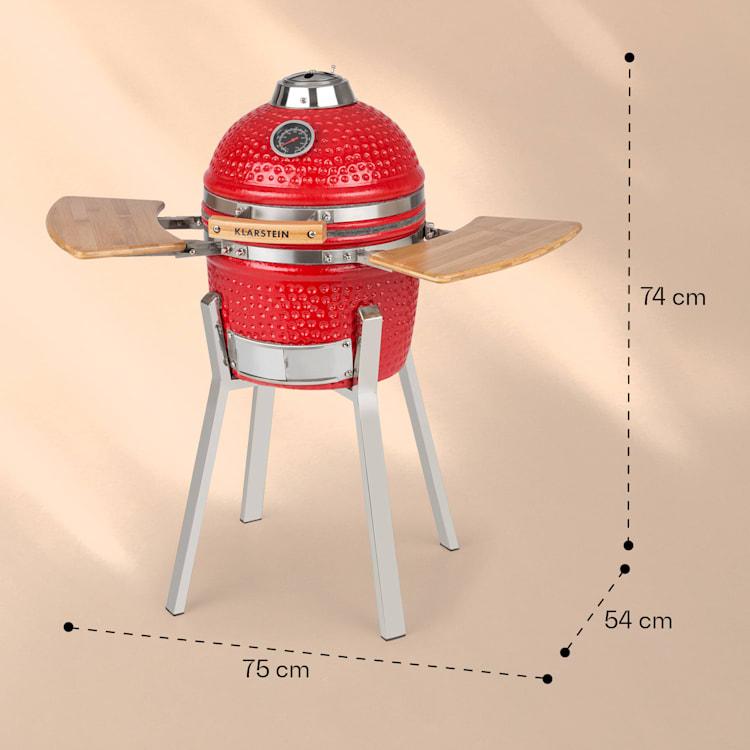 """Princesize Pro -kamado-grilli 13"""" (33 cm) lämpömittari sivuosat punainen Punainen"""