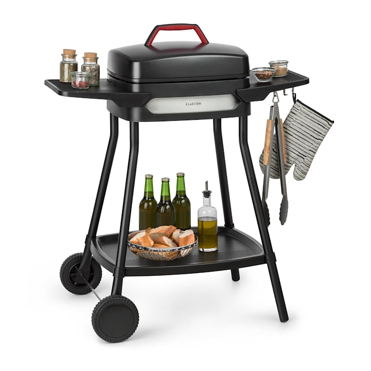 Gatsby elektrische barbecue 2000W anti-aanbaklaag zijtafels zwart Zwart