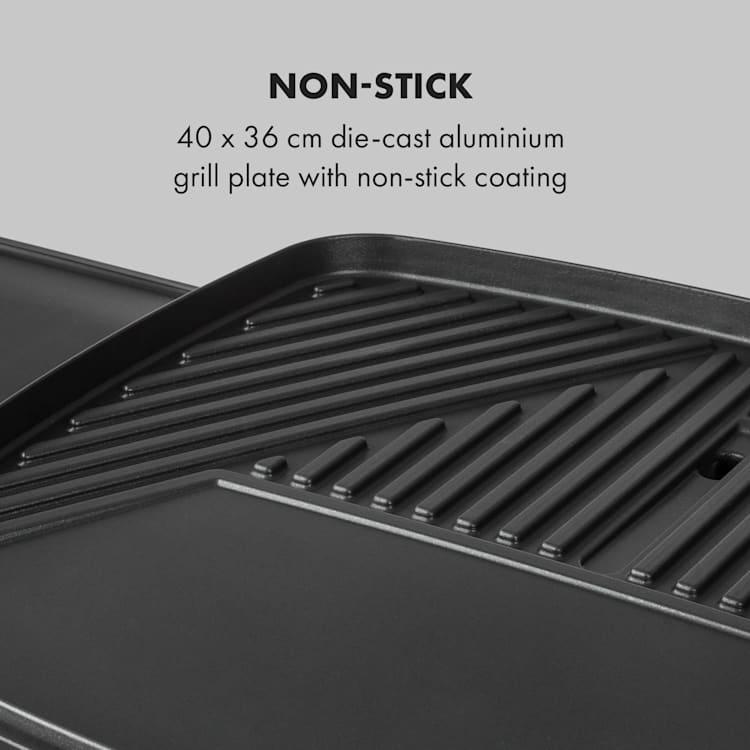 Gatsby Elektrogrill 2000W Antihaft-Grillfläche Seitentische beige / schwarz Schwarz / beige