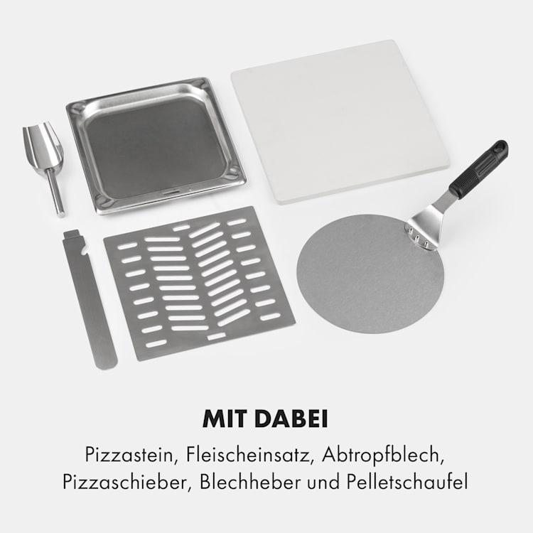 Diavolo Pizza-Pelletofen inkl. Pizzastein Thermometer Edelstahl Silber