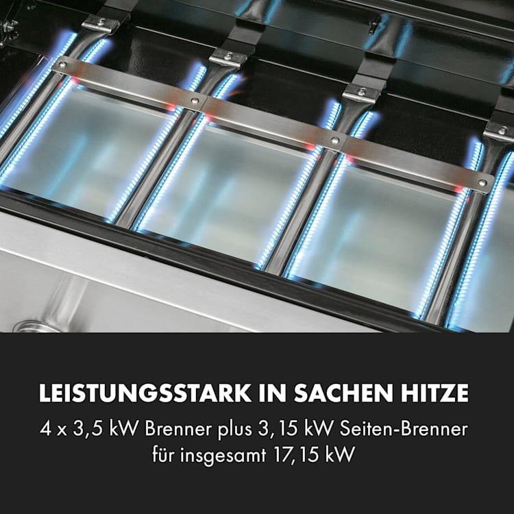 Valkyrie Gasgrill 4x3,5 kW + 3,15 kW Brenner 74x44 cm Grill Sichtfenster Edelstahl 5 Brenner
