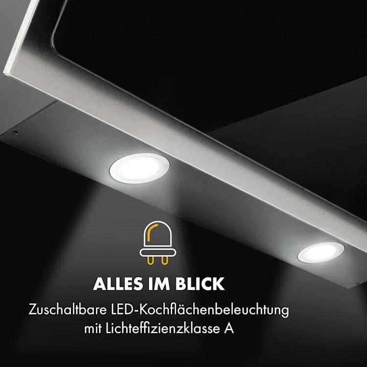 Alessia Dunstabzugshaube Kopffreihaube 350 m³/h Push Control  schwarz 90 cm