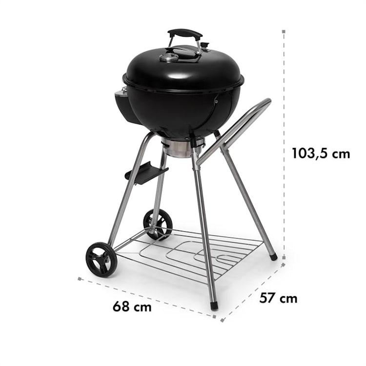 Beef Baron Parrilla esférica con termémetro de ventilación ruedines color negro