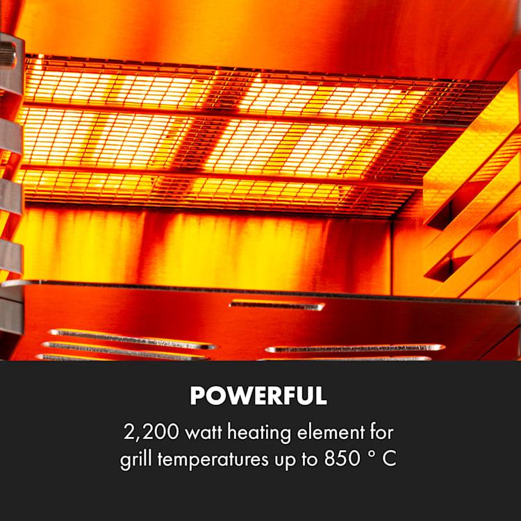 Hannibal Parrilla de alta temperatura para interiores 2.200W 850°C acero inoxidable plateado Plata