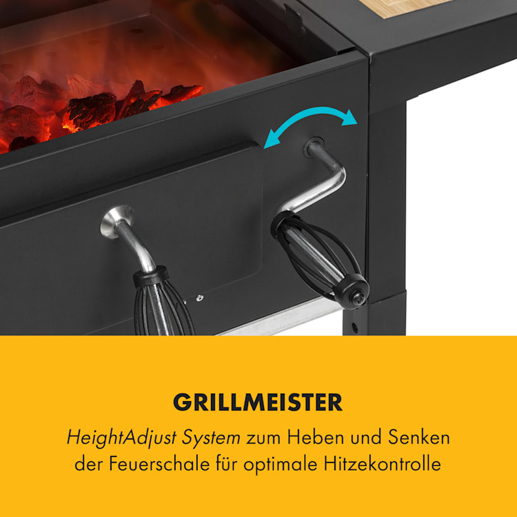 Meat Machine Holzkohlegrill BBQ 45x32,5cm Thermometer Bodenrollen schwarz