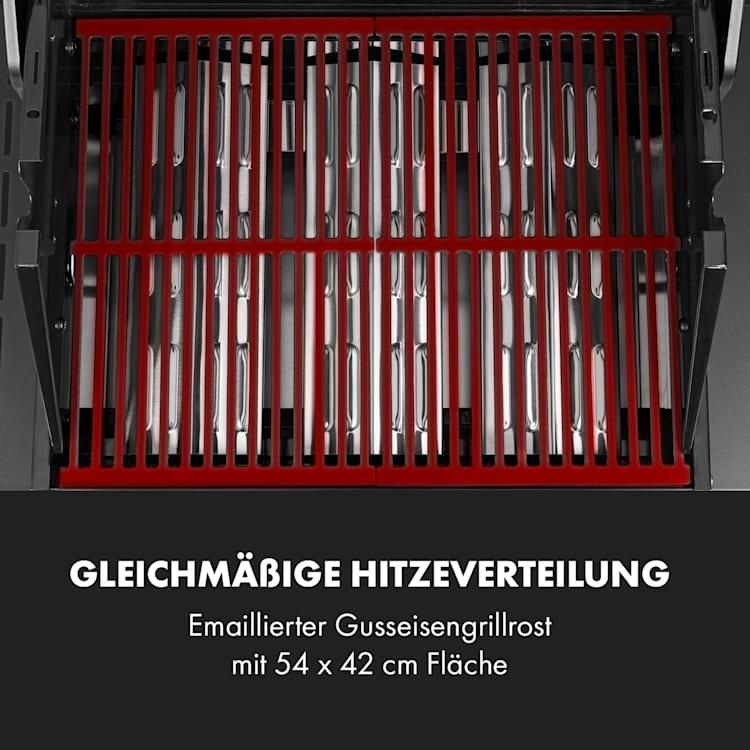 Valkyrie Gasgrill 3x3,2 + 2,9 kW Sichtfenster 54x42 cm Grill Edelstahl 4 Brenner