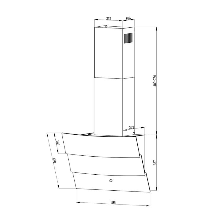 Antonia, hotă, 60 cm, 350 m³ / h, panou de control tactil, negru Negru | 60 cm