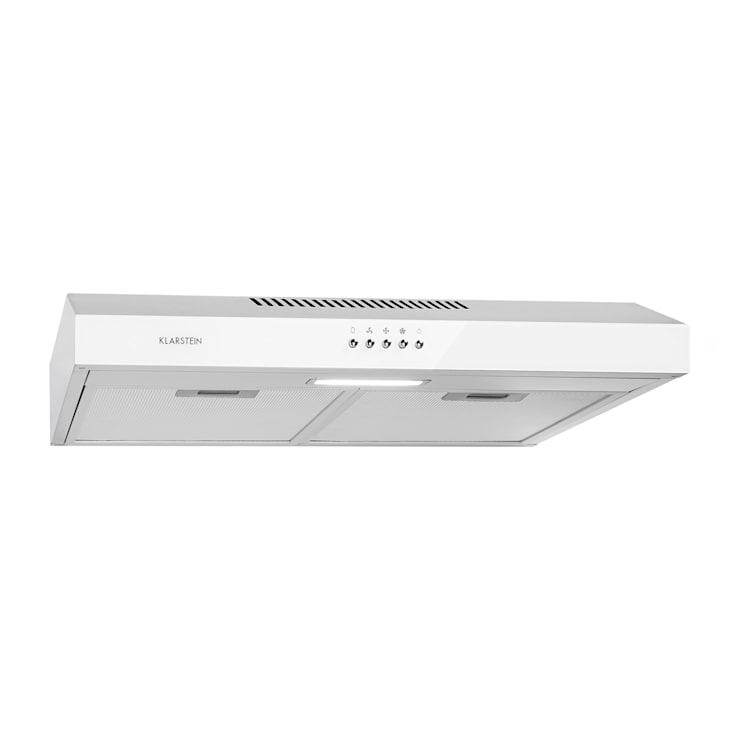 Contempo Unterbau-Dunstabzugshaube 60cm 175m³/h LED Edelstahl Acryl weiß Weiß
