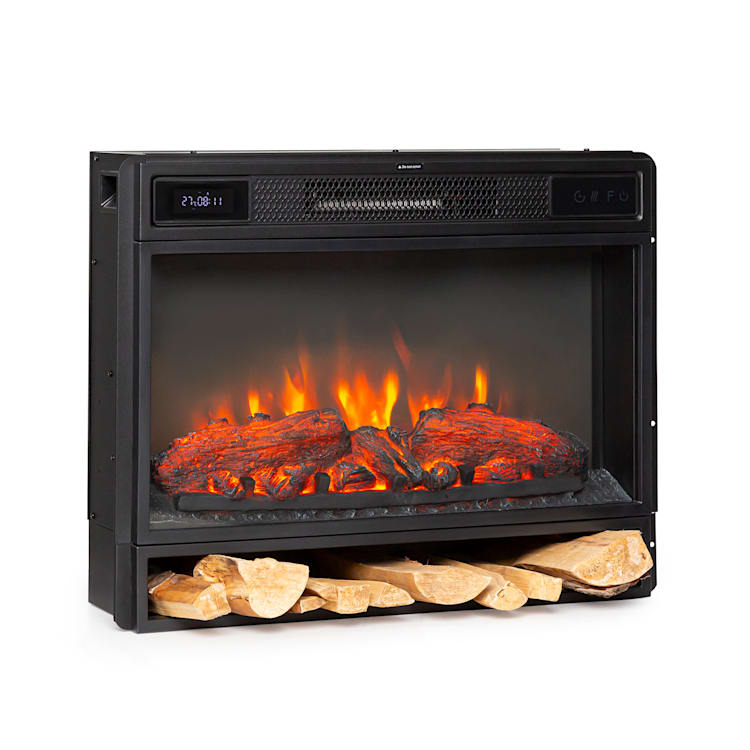 Vulsini Electric Fireplace 1900 W LED Technology Remote Control black Fireplace without chassis
