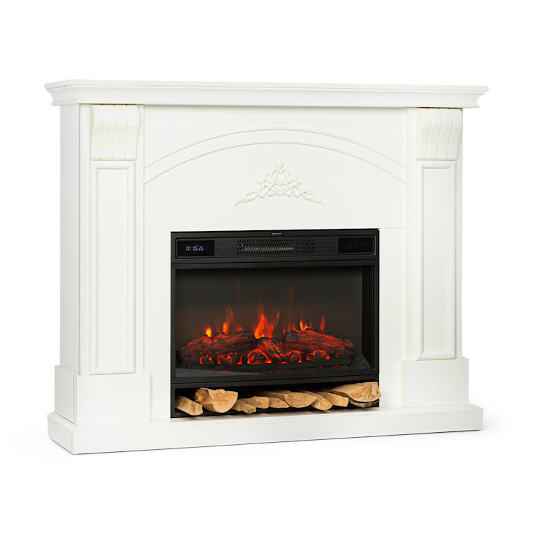 Vulsini Dawn Electric Fireplace 1900 W LED Technology Remote Control Cream Fireplace chassis in cottage style