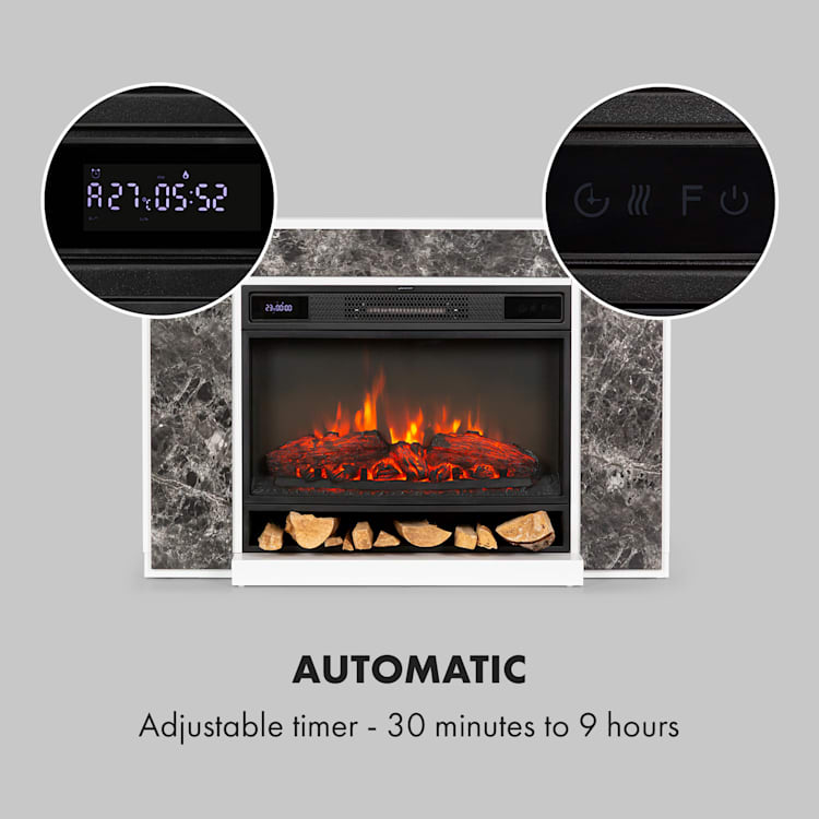 Vulsini Nightfall Electric Fireplace 1900 W LED Technology Remote Control grey Fireplace chassis in marble look